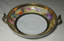 "Antique/Vintage Decorative Nippon China Fruit Bowl -  Gold Trim Handles - 8"" Dia"