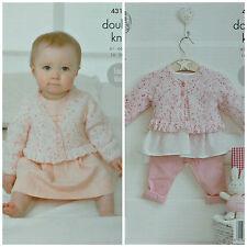 KNITTING PATTERN Baby's Easy Knit V-Neck &Round Neck Cardigan with Frill DK 4317