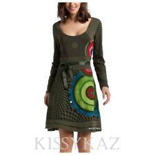 DESIGUAL Bottle Green Stretch Jersey LOVE HEART Dress  L 14 BNWT