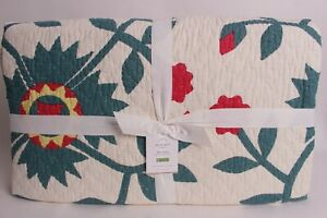 NWT Pottery Barn Maisie cotton King quilt, red green Christmas