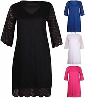 Womens Plus Size Half Short Sleeve Ladies Scallop Edge Lined Lace Long Dress Top