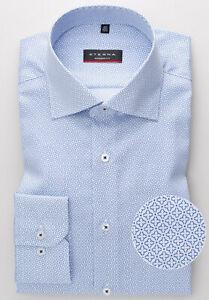 "Eterna Herren-Hemd  ""Comfort-Fit""-blau- -Bügelfrei-100% Baumwolle  -Print-"