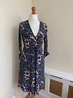 DIANE VON FURSTENBERG DVF Pink & Blue Silk Wrap Dress 12