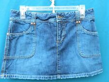 Old Navy Extra Low Waist Solid Blue Denim Mini Skirt Size 4 Juniors