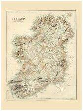 Old Vintage Ireland map Fullarton ca. 1872
