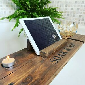 Personalised Wooden Bath Tray/Caddy with Wine Holder, Tablet Support