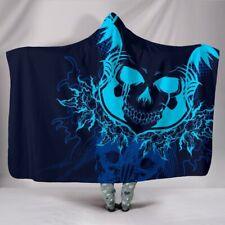 3D Skull Art Gift Hooded Blanket - Sherpa And Microfiber Blanket With Hood
