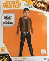 New Star Wars Hans Solo Child Costume Jacket Pants Boot Tops Belt SzM 8-10 5-7yr