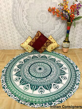 Yoga Mat Green Color Big Roundie Cotton Fabric Handmade Wall Hanging Beautiful