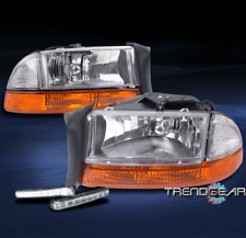 1997-2004 DODGE DAKOTA/1998-2003 DURANGO PICKUP HEADLIGHT+AMBER BUMPER W/DRL LED