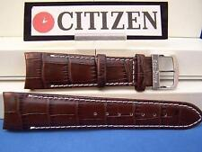 Citizen Watch Band AT0550-11X. ECO Drive 22mm Curved End Brown Leather Strap.