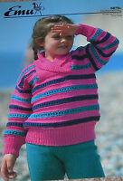 Original Vintage Emu Knitting Pattern Boy's/Girl's DK Wrap Neck Striped Sweater