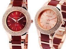 Damenuhr Armbanduhr Rotgold Kristallbesatz Bling Zifferblatt in Rot oder Rosé