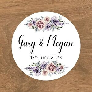 Personalised Wedding Stickers Favour Labels (A-001)