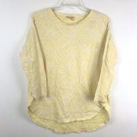 Fresh Produce Womens Size Medium Yellow 3/4 Sleeve High Low Cotton Shirt Top