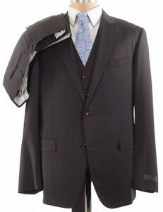 Pal Zileri NWT 3 Piece Suit Size 46R In Dark Brown Peak Lapel $2,198
