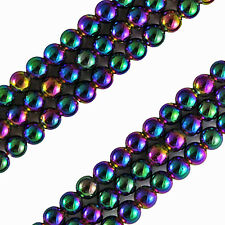 MAGNETIC  HEMATITE BEADS RAINBOW IRIDESCENT COLORS 3MM ROUNDS BEAD STRANDS HR16