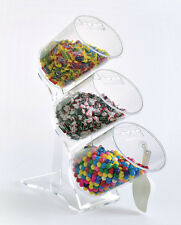 Upright Food Tubes | Flip Top Bulk Bins | Set of 3 Clear Canisters on Stand