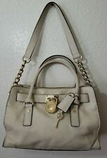 MICHAEL KORS Hamilton Shoulder Bag Sand Leather Logo Padlock Handbag w/ Bag