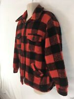 Melton Outerwear Mens L Red Buffalo Plaid Vtg USA Made Faux Fur Lined Jacket