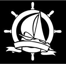WHITE Vinyl Decal - Nautical boat water navy wheel sticker fun sail wind
