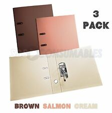 3 Pack - Brown/Salmon/Cream A4 Lever Arch Files. 70mm Spine. PVC Covered In&Out