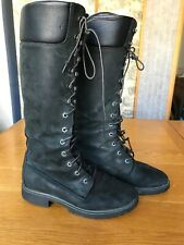Timberland Laced Waterproof Boots UK 6 Black Nubuck Matte Leather GLUED AT FRONT