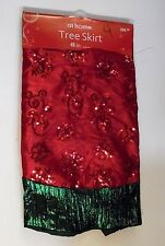 48 IN RED SILK & GREEN FANCY SEQUINS CHRISTMAS TREE SKIRT HOLIDAY DECORATION