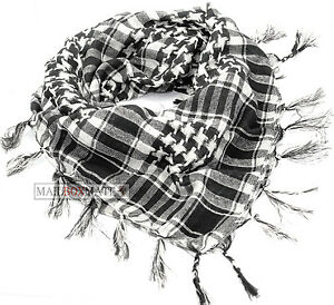 Black and White Arab Arafat Shemagh Keffiyeh Scarf Neck Wrap
