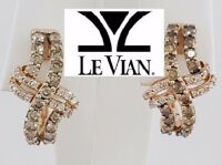 1.25 ct LeVian 14K Rose Gold Round Cut Brown & White Diamond Earrings