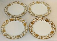 Ciroa Luxe White / Gold Floral Porcelain Salad Side Plates Set of Four New