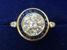 Gorgeous 18ct gold and white gold art deco Sapphire and Diamond target ring