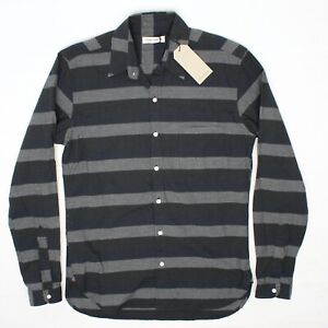 NWT Oliver Spencer Lingmell Mens Shirt S 15 Gray Charcoal Navy Stripe Button Up