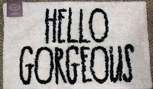 """Rae Dunn HELLO GORGEOUS White Black Bathroom Rug Mat 21"""" x 34"""" 100% Cotton New"""