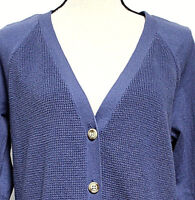 Faded Glory Woman XL 16-18 Slate Blue Cardigan Sweater V Neck Long Sleeved