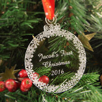 Personalised Christmas Tree Decoration Engraved Bauble Gift - First Christmas