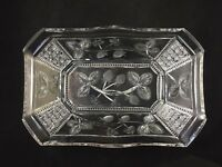 """🔵 Libbey ABP Cut Glass PANEL & STRAWBERRY Pattern 13"""" Berry Bowl - SIGNED"""