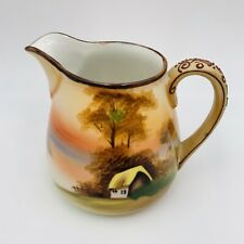 Antique Nippon Creamer Hand Painted Porcelain Scenic Cottage Lake Moriage