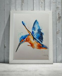 New Elle Smith large original signed watercolour art painting kingfisher bird