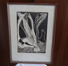 Alwin Blaue Original Holzschnitt Design Holzdruck 50er  Kieler Woche 1951 Plakat
