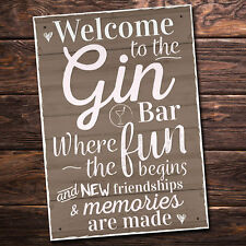 Gin Bar Hanging Plaque Alcohol Party Novelty Birthday Gift Garden Pub Friendship