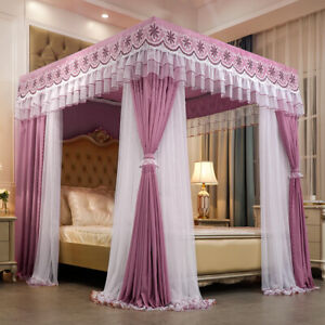 Luxury canopy for bed drapes mosquito net with 4 corner frames Anti-mosquito set