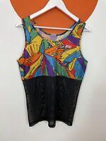 Men's Vintage 90s Asics Funky Print Vest Top Tee T-Shirt UK Size M Medium