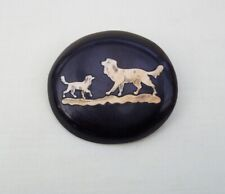 Antique Brooch Pin Early Plastic Bakelite With Tiny Inset Bovine Bone Dogs.
