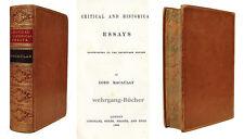 "Macaulay: Critical and historical essays. Signierter ""Riviere""-Einband."