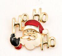 Vintage SFJ Gold tone Enamel Santa Christmas Holiday Brooch Pin Estate Jewelry