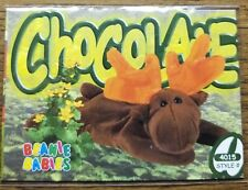 Extremely rare double misprint!! Chocolate The Moose Beanie Babies card!!!! 4015