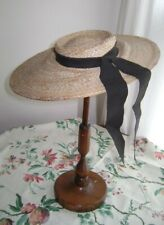 """New listing Wide brim straw hat 1950's very shallow crown 1"""" deep"""