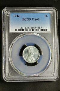 PCGS MS66 1943 P Steel wheat ear cent WWII, Free Shipping PCGS 41684687