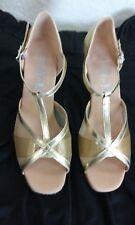 Ladies Gold ballroom shoes NIB leather w/ mesh Size 6  2.5